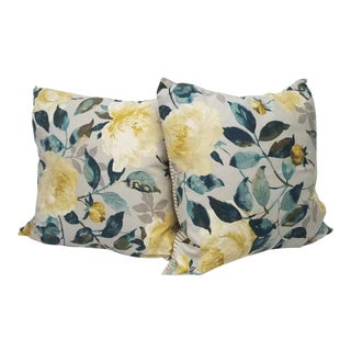Yellow and Teal Floral Pillows - A Pair For Sale