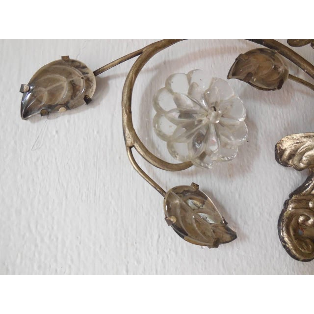 French Maison Bagues Style Silver Floral Beaded Sconces For Sale - Image 4 of 10