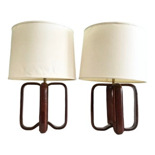 Jacques Adnet French Leather Table Lamps - a Pair For Sale