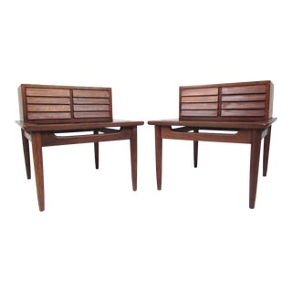 Pair of Midcentury Step Side End Tables by American of Martinsville For Sale