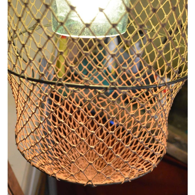 Pendant Light From Seltzer Bottle Inside Fish Trap - Image 3 of 10