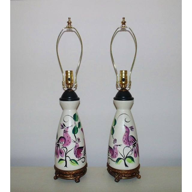 White Table Lamps Vintage Marc Bellaire Mid-Century Modern Vase Form W/ Birds - a Pair For Sale - Image 8 of 8
