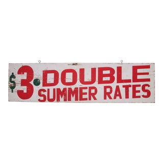 Vintage $3 Double Summer Rates Sign For Sale