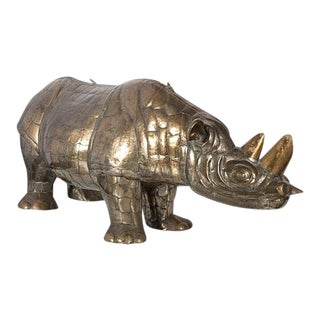 Original Vintage Mid 20th C. Signed/Numbered Limited Edition Brass Rhinoceros-Sergio Bustamante For Sale