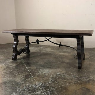 Antique Spanish Oak & Wrought Iron Dining Table Preview