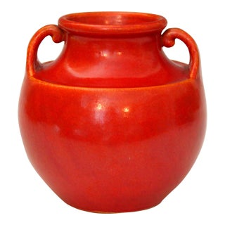 Awaji Pottery Art Deco Vase in Crystalline Chrome Red Glaze For Sale