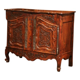 18th Century, French Louis XV Carved Walnut Two-Door Buffet From Provence For Sale