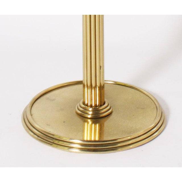 Italian round brass gueridon table with glass top, c. 1970