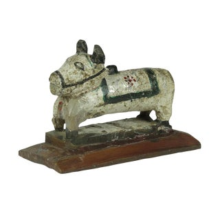 Antique White Hand Carved Nandi For Sale