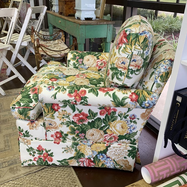 Green Floral Club Chair - New Upholstery (Vintage Fabric) For Sale - Image 8 of 13