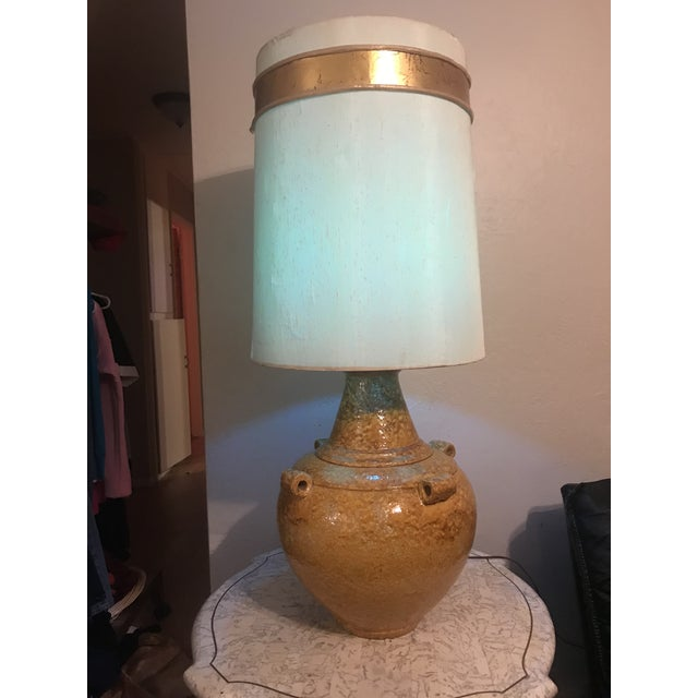 1970s Mid Century Mustard Yellow Lava Glaze Pottery Lamp For Sale - Image 5 of 9