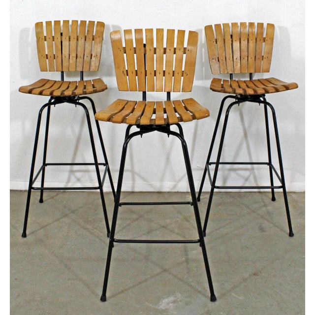 Set of 3 Mid-Century Danish Modern Arthur Umanoff Swivel Slat Bar Stools For Sale - Image 11 of 11