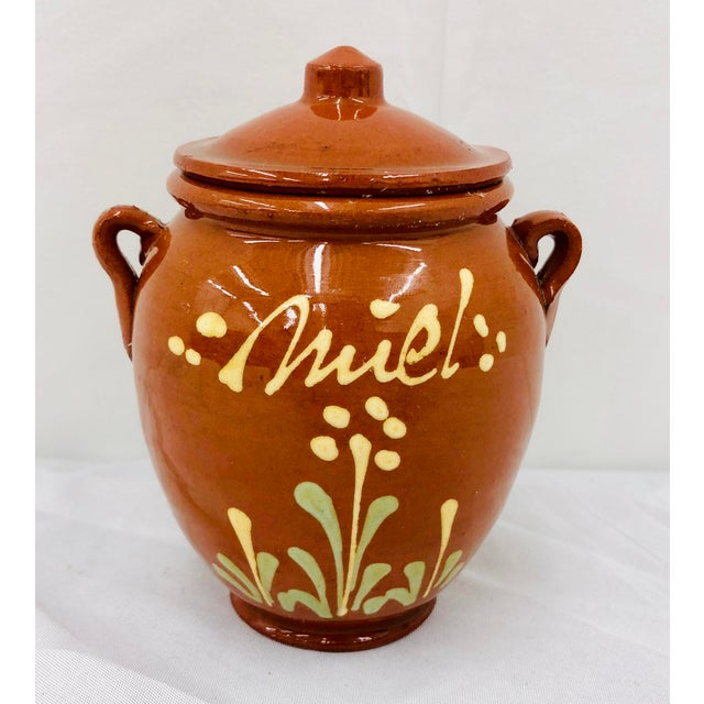 Clay Vintage French Hand Painted Terra Cotta Clay Pottery Mustard Jar For Sale - Image 7 of 7