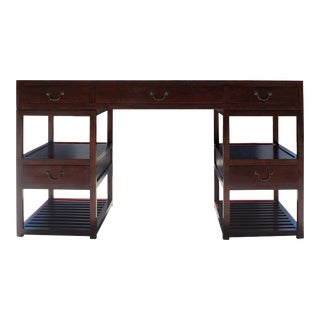 Chinese Medium Brown Wood Editor Office Writing Desk Table For Sale