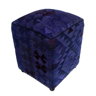 Arshs Demetra Purple/Drk. Gray Kilim Upholstered Handmade Ottoman For Sale