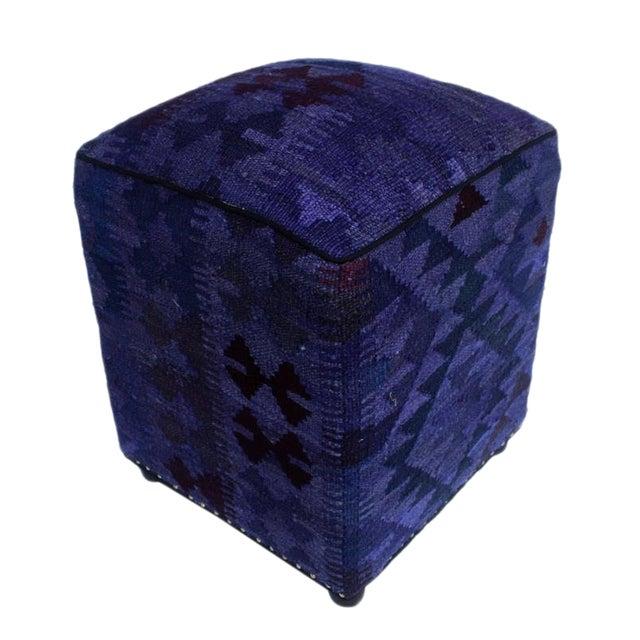 Arshs Demetra Purple/Drk. Gray Kilim Upholstered Handmade Ottoman For Sale