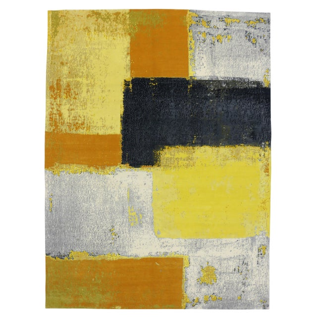 """Modern Style Contemporary Abstract Color Block Rug - 9' x 12'1"""" For Sale"""