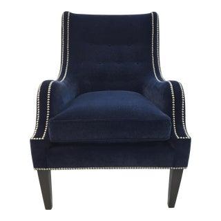 Thomasville Blue Velvet Chandon Club Chair For Sale