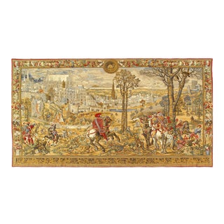 "1960s Vintage France Aubusson Tapestry- 4'5'x8'2"" For Sale"