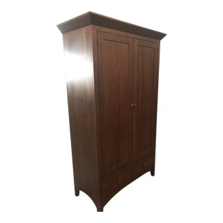 1990s Mission Ethan Allen Solid Cherry Wardrobe Armoire For Sale
