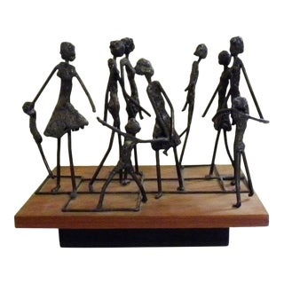 1960s Brutalist Mid Century Modern Giacometti Style Sculpture For Sale