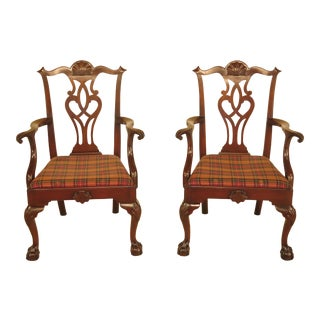 Kittinger Ball & Claw Chippendale Arm Chairs - A Pair
