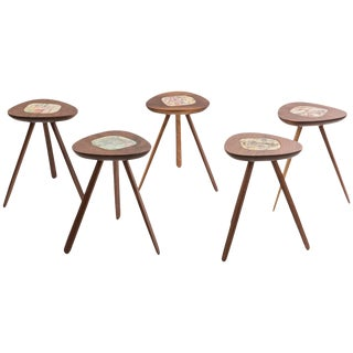 Four Lee Porzio & Allen Ditson Walnut Ceramic Side Tables For Sale