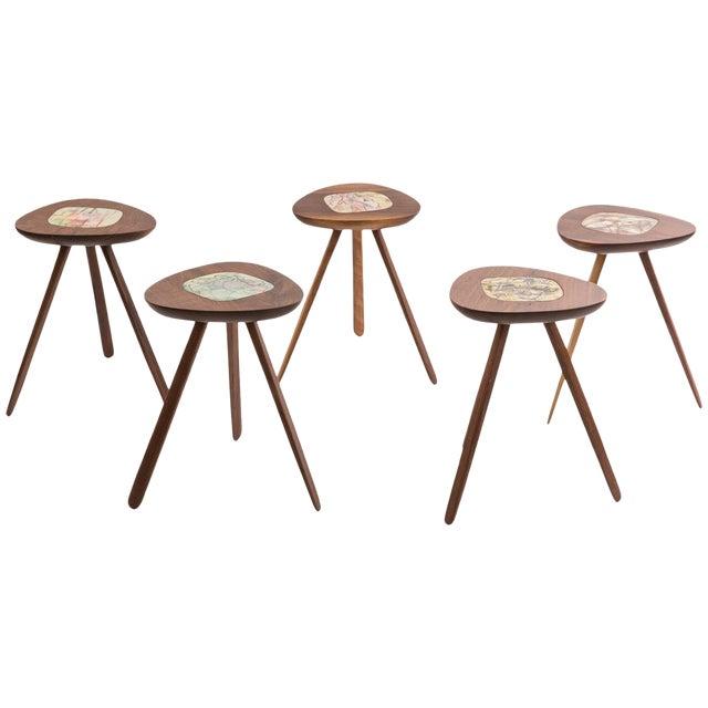 Four Lee Porzio & Allen Ditson Walnut Ceramic Side Tables For Sale