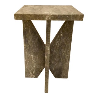 Modern Charcoal Marble Side Table For Sale