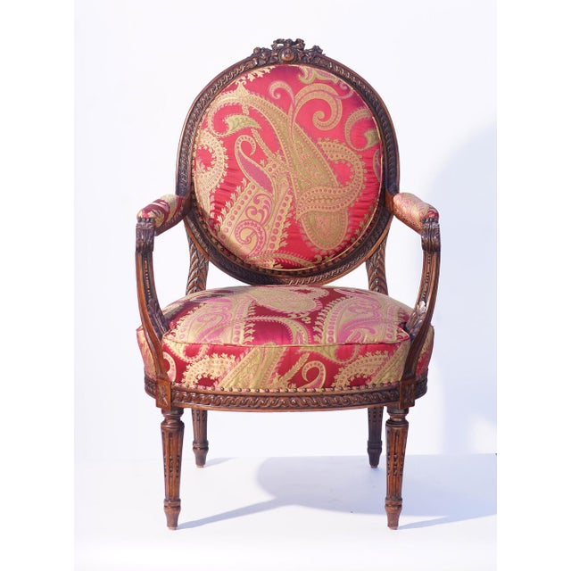 19th C. French Walnut Armchair For Sale In Los Angeles - Image 6 of 6