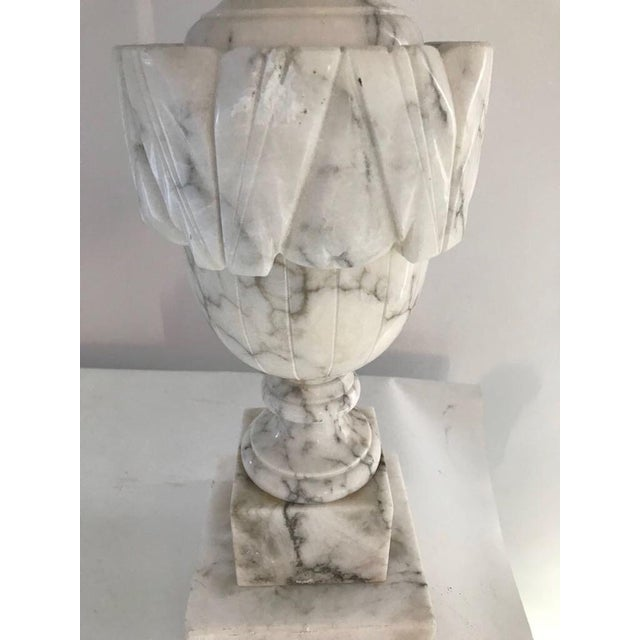Neoclassical Antique Hand-Carved Carrara Lamps - A Pair For Sale - Image 3 of 5