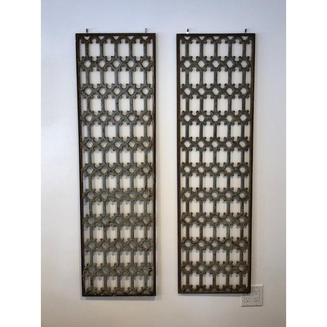 Iron Mid 19th Century British Decorative Iron Panels- a Pair For Sale - Image 7 of 8