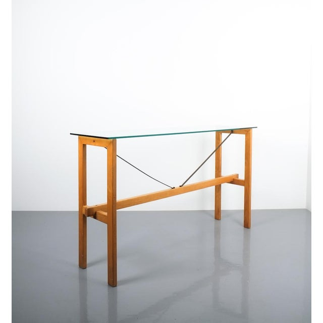 Contemporary Superstudio Console Table Wood and Glass Zanotta, Italy, Circa 1980 For Sale - Image 3 of 9