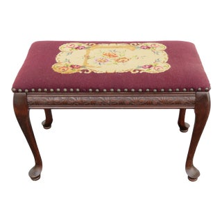 Queen Anne Legs Tapestry Vanity Foottool For Sale