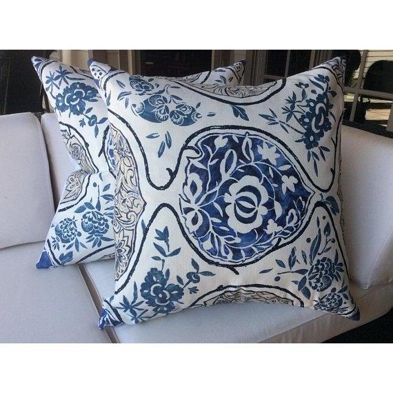 "2010s Schumacher ""Katsugi"" Blue Pillows - a Pair For Sale - Image 5 of 5"
