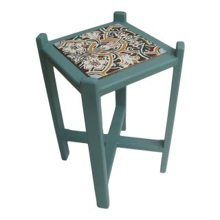 Arts & Crafts Drinks Table or Plant Stand Art Nouveau Tile For Sale