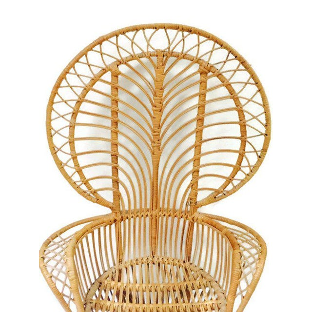 Gorgeous Vintage Rattan Fan Back Chair, Franco Albini Style Peacock Chair, Bent Bamboo & Rattan Wingback Peacock Chair....