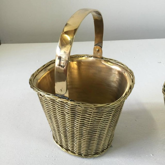Hollywood Regency Pair of Polished Brass Orchid Baskets in the Manner of Gabriella Crespi For Sale - Image 3 of 4