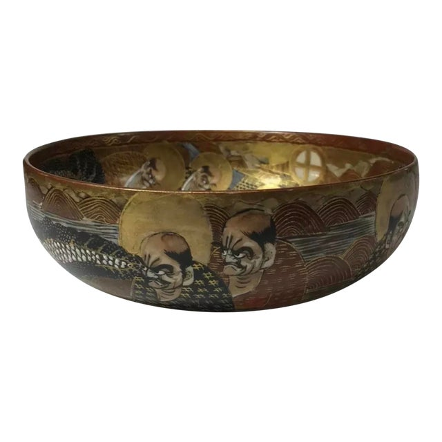 1940s Antique Japanese Satsuma Hand Painted 2 Sided Golden Porcelain Bowl For Sale