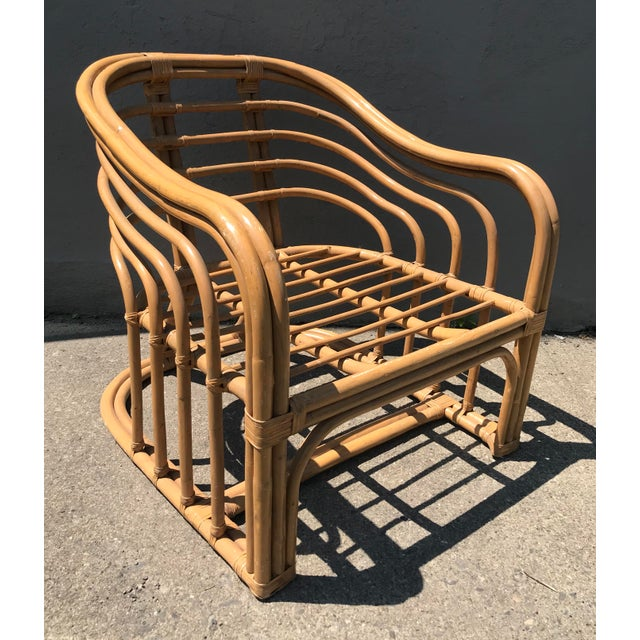Tan 1970's Vintage Rattan Lounge Chair For Sale - Image 8 of 8