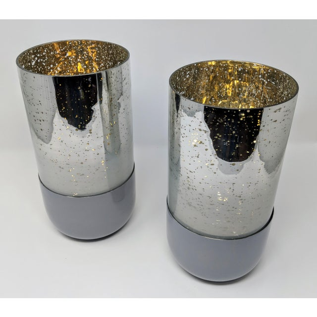 2010s Mercury Glass Candle Holders - a Pair (2) For Sale - Image 5 of 11