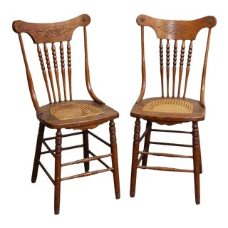 Carved Wood Chairs With Wicker Seat - a Pair For Sale