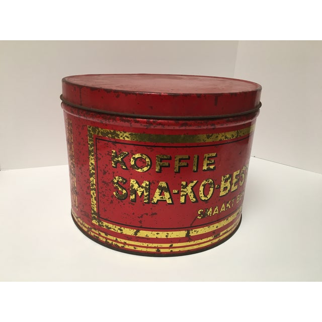 Rustic Vintage European Coffee Shop Red Display Tin For Sale - Image 3 of 7