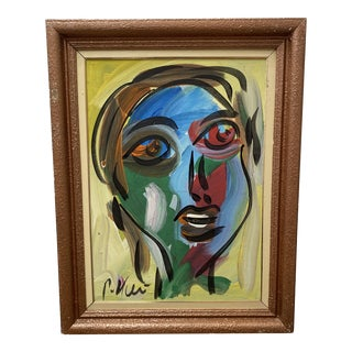 1980s Cubist Style Abstract Face Acrylic Painting, Framed For Sale