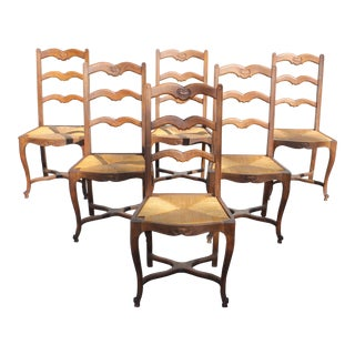 Early 20th Century Vintage French Country Rush Seat Solid Walnut Dining Chairs- Set of 6 For Sale
