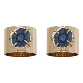 Crystal Quartz Napkin Rings, Indigo, Set of Two For Sale