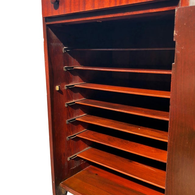 Antique Mahogany Empire Sheet Music Vinyl Record Cabinet by Udell Works For Sale - Image 11 of 12