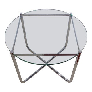 Knoll Studio Mr Side Table by Mies Van Der Rohe Chrome Glass Round Coffee Table