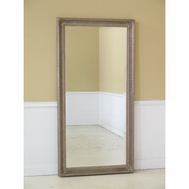 Tall Rectangular Silver Decorated Framed Beveled Glass Mirror For Sale In Philadelphia - Image 6 of 6