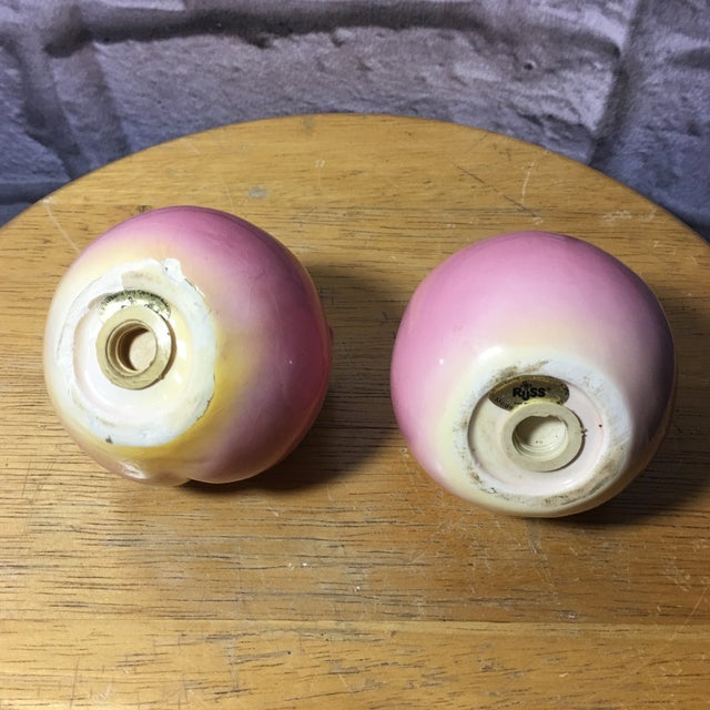 Ceramic Vintage Peach Shaped Figural Salt & Pepper Shakers - a Pair For Sale - Image 7 of 10